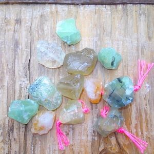 11 Piece Green, Yellow, Gear Rough Agate, Drilled